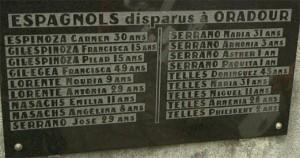 Parte del memorial que contiene los nombres españoles