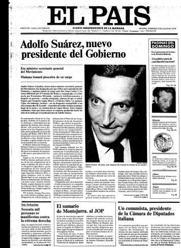 Portada del 4 de julio de 1976 diario El país