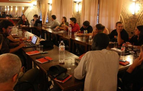 El Secretariado Nacional, en una reunión en el Casino de la Alianza del Poblenou, en septiembre