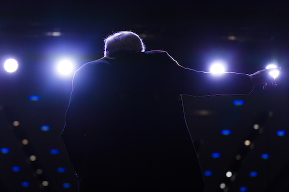 Democratic presidential candidate Sen. Bernie Sanders, I-Vt., speaks during a canvass kick-off event at the Reno Sparks Convention Center, on Saturday, Feb. 13, 2016, in Reno, Nev. (AP Photo/Evan Vucci)